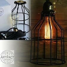 Mini Pendant Light for Kitchen Industrial Cage 15ft Plug-in Fabric Cord W/ Bulb