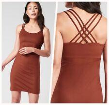 NEW! ATHLETA Hyper Focused Bra Dress XS Dried Cinnamon Brown | Fall Fitted Dress