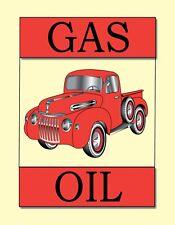 METAL MAGNET Gas Oil Old Red Pickup Truck Trucks MAGNET