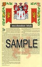 MCCLENDON Armorial Name History - Coat of Arms - Family Crest GIFT! 11x17