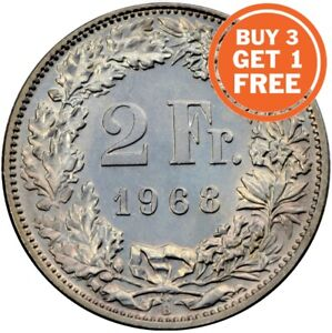 2 Swiss Franc Coin Choice of Dates 1874 to 2019 Switzerland