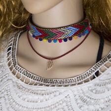 1 Pcs Fashion Women Tribal Weaving Mini Ball Tassel Pendant Bib Collar Necklace