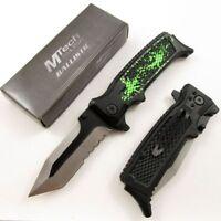 SPRING-ASSIST FOLDING POCKET KNIFE | Mtech Black Green Tanto Tactical Serrated