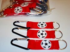METALLIC CLIP SOCCER BALLS KEY CHAINS LOT OF 12 CARNIVAL  PARTY TOY FAVORS