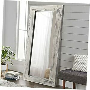 """Over Sized Floor Mirror Wood Frame Wall Mounted Mirror 71"""" x 32"""" Light Gray"""