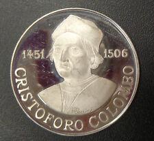 MEDAGLIA SCOPERTA DELL'AMERICA CRISTOFORO COLOMBO 1506 21,5 gr ARGENTO 925 PROOF