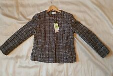 Women's New Textured Woven Smart Classic Jackets in Greys Brown by M&S size 12