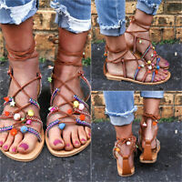 LADIES WOMENS FLAT LACE UP LEG STRAPPY GLADIATOR SUMMER FASHION SANDALS SHOES C