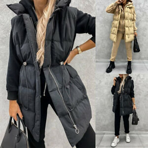 Womens Quilted Puffer Overcoat Waistcoat Jacket Padded Bodywarmer Gilet Vest