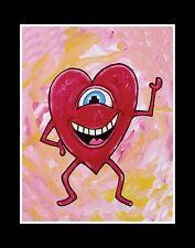 """HAPPY HEART"" love lowbrow outsider pop large card RT VEGAS signed original folk"