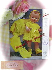 Vintage Knitting Pattern Baby Dolls 6 Piece Set for 16 or 20in Dolls Just