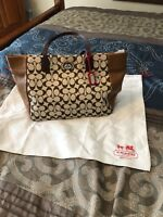 Coach Signature C And Leather Handbag Purse Brown And Beige