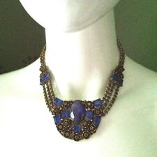 Sapphire Blue Glass Victorian Gold Tone Plate Metal Rosette Vtg Necklace