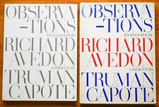 SIGNED - RICHARD AVEDON - OBSERVATIONS 1959 1ST EDITION W/JACKET & SLIPCASE NICE
