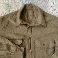 Vintage Military Large Size 16 Wool Shirt Green Army Gussets