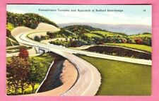 c1940s VTG Lot (2) Linen Postcards  Pennsylvania Turnpike Bedford & Ft Littleton