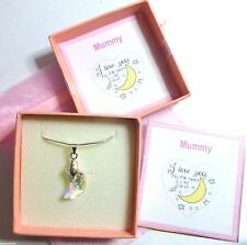 """Mummy """"I Love you to the Moon and Back""""made with Swarovski Necklace Gift Mother"""