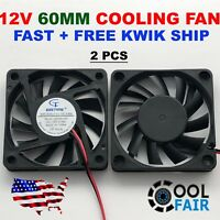 12V 60mm Cooling Fan 6010 PC DC Computer Case CPU 6cm 60x60x10mm 2-Pin 2-Pack