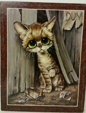 "Vintage mid-century GIG Big Eye Pity Cat pressed board 14"" x 11"" Soroka Sales"