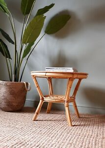 Vintage Retro Bohemian Style Bamboo Round Coffee Side Table 1960s 1970s