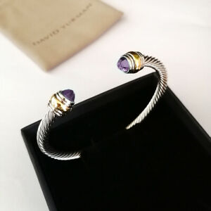 David Yurman 5mm Sterling Silver Cable Cuff Bracelet Amethyst &14K Gold Bangle M