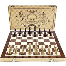 """Chess Set 15""""x15"""" Folding Magnetic Wooden Standard Game Board Set Wooden Crafted"""