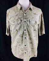 Cabelas Mens Fishing Button Front Shirt Sz XL Beige Short Sleeve Bass Vented Euc