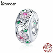 BAMOER 925 Sterling Silver Charm Bead Spring Flower With CZ fit Bracelet Jewelry