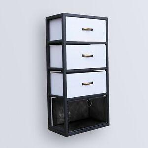 Wall Drawer Cabinet Storage Unit Rustic Industrial Metal Wood Cupboard Furniture