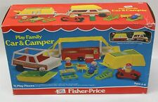 FISHER-PRICE 992 Play Family Car & Pop-Up Camper 1979 Vintage Playset Boxed