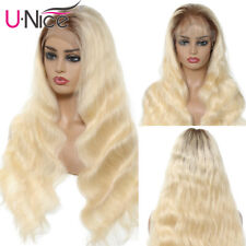 Ombre T4/613 Blonde Malaysian Body Wave Lace Front Human Hair Wig Pre Plucked 8A