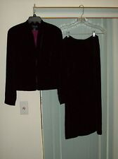 Black Velour Suit from Ann Taylor Jacket Size 10P Skirt Size 8P Rayon/Silk Blend