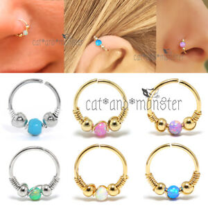Opal Turquoise Nose Ring Hoop Beaded Ear Cartilage Helix Tragus Earring Piercing