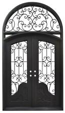 Beautiful Estate Iron Entry Door With Safety Glass - D47