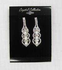 Silver Rhinestone Crystal Pearl Dangle Earrings # 42602 Prom Bridal Wedding New