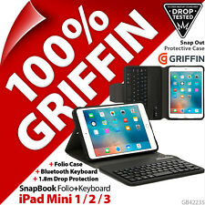 Griffin SnapBook Folio+Bluetooth Keyboard Tablet Case for Apple iPad Mini 1 2 3