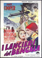 CINEMA-manifesto I LANCIERI DEL BENGALA gary cooper, tone, cromwell, HATHAWAY