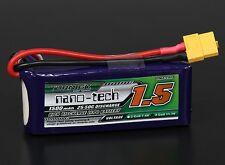 Turnigy Nano-Tech 1500mAh 3S 11.1V 25C-50C 3D FPV LiPo Battery Pack XT60 Quad US