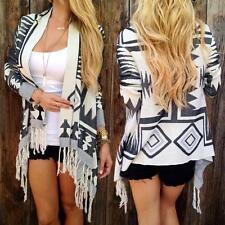 Womens Knitted Geometry Tassel Cardigan Loose Sweater Outwear Coat Tops Knitwear