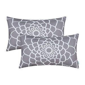 "2Pcs Medium Grey Cushion Covers Pillows Shells Cases Dahlia Florals Decor 12x20"""