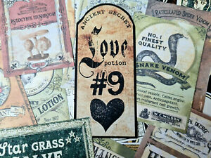 50 Magical Witches Spell ephemera Vintage Labels Poisons Apothecary