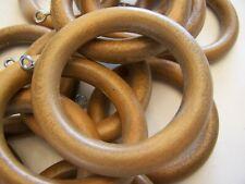 screw eyeslot de 60  anneaux  ou rondelles de bois couleur brun fonc\u00e9 Lot of 60 dark brown wood wooden curtains rings