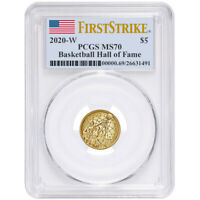 2020-W UNC $5 Gold Basketball Hall of Fame PCGS MS70 FS Flag Label