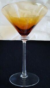 Union Street Martini Glass Amber Color Signed Union Street Glass 2002