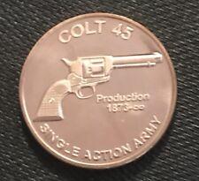 1 OZ COPPER ROUND SINGLE ACTION ARMY COLT 45 REVOLVER