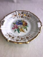 "KPM Germany Porcelain Hand Painted Two Handle Plate - Floral Gilded 9.5"" Look!"