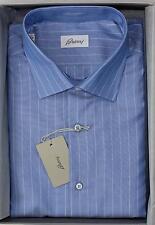 Brioni NWT 100% Cotton Blue Thin White Striped Hand Made Dress Shirt 40 15 3/4