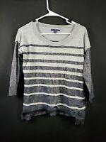 American Eagle Women's Gray Sparkley Long Sleeve Sweatshirt Size Small