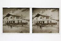 Chalet A Sci Montagne Foto N2 Placca Stereo 6x13cm Vintage