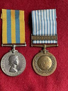 Vintage Old X 2 Original Pair Of Korean War Medals & United Nations Korea Medal